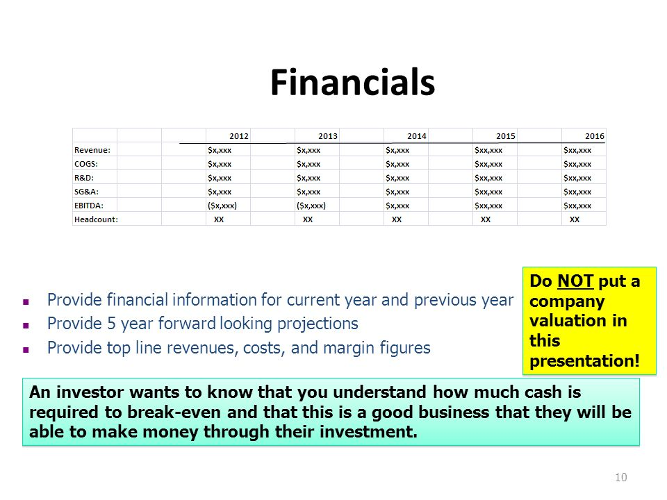 Financials Do NOT put a company valuation in this presentation!