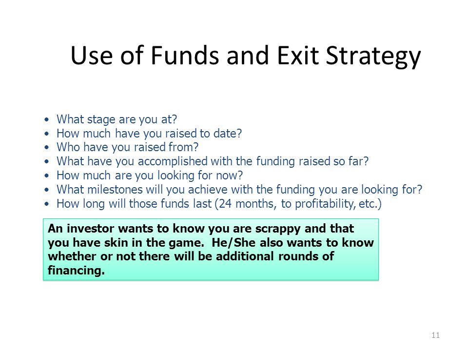 Use of Funds and Exit Strategy