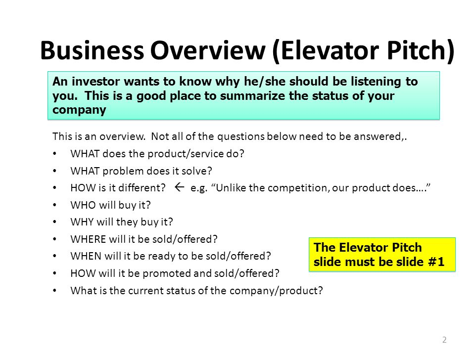 Business Overview (Elevator Pitch)