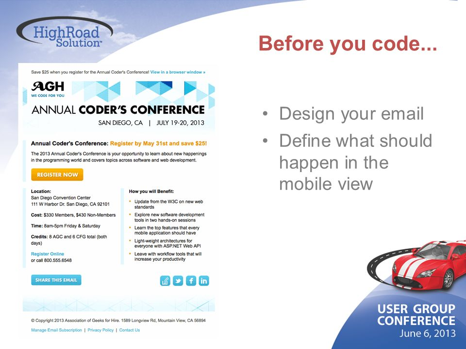 Before you code... Design your email