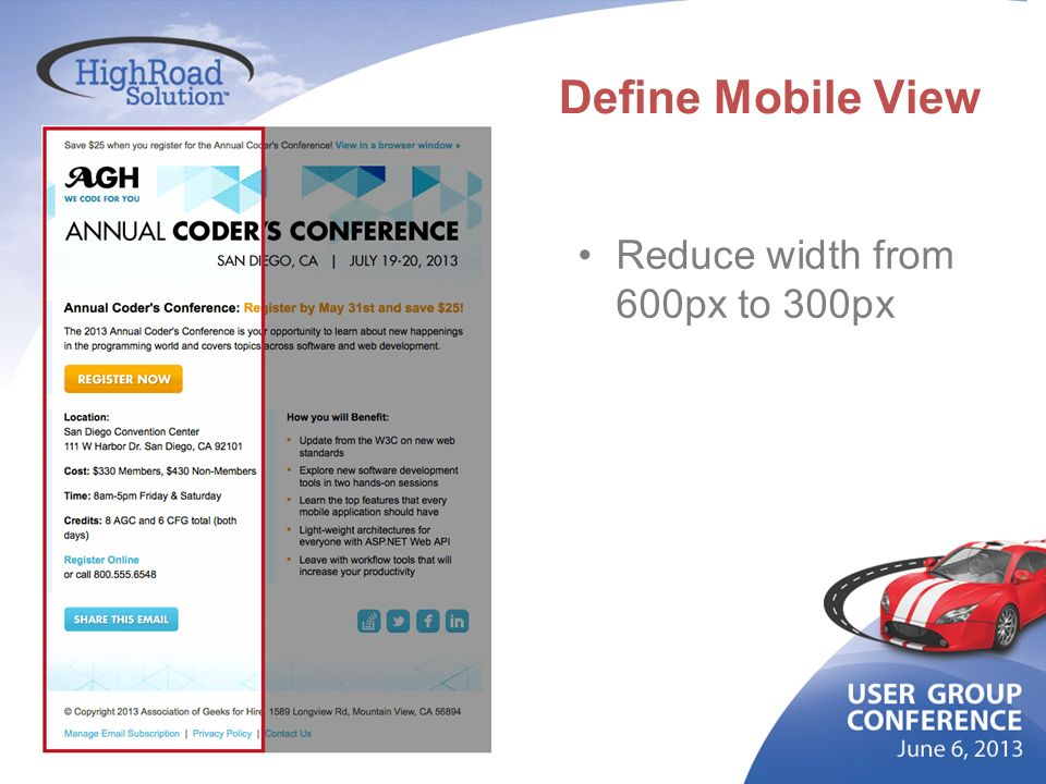 Define Mobile View Reduce width from 600px to 300px
