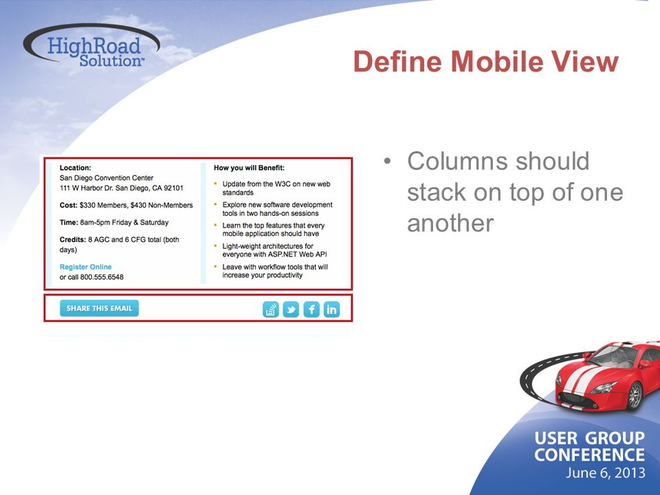 Define Mobile View Columns should stack on top of one another