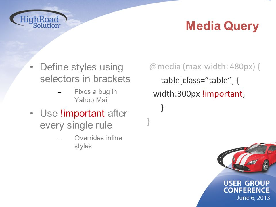 Media Query Define styles using selectors in brackets