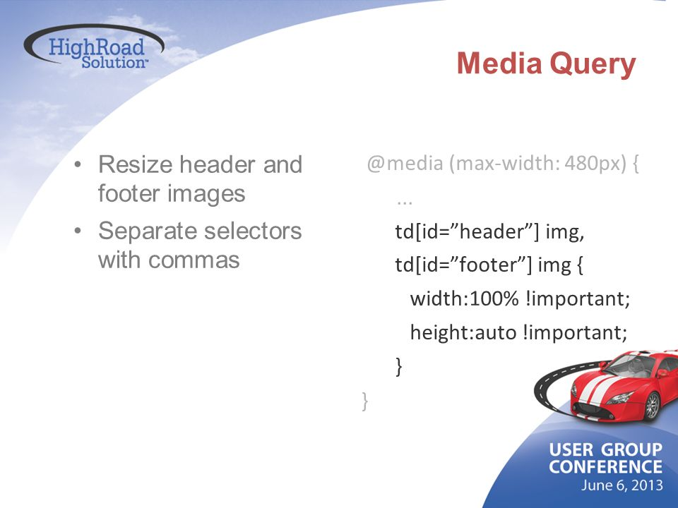 Media Query Resize header and footer images