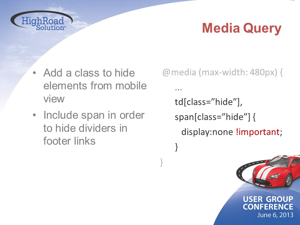 Media Query Add a class to hide elements from mobile view