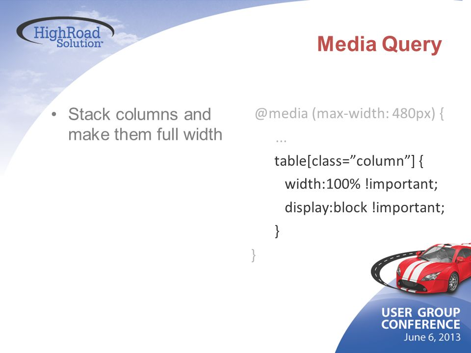 Media Query Stack columns and make them full width