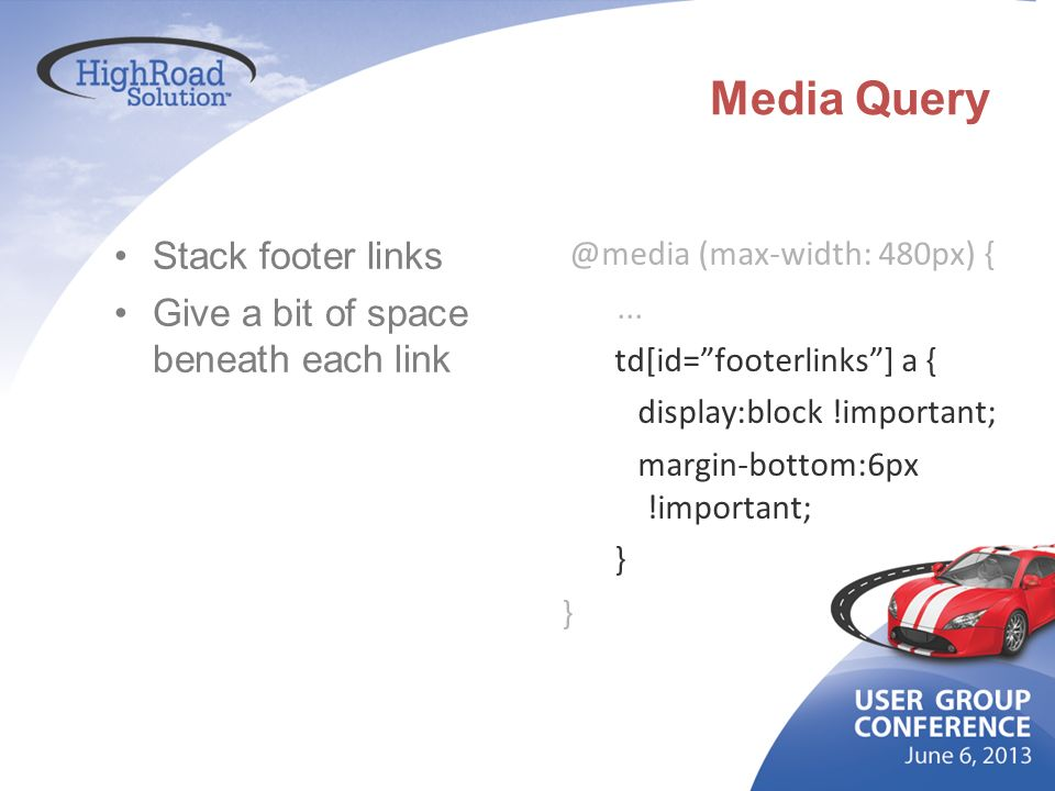 Media Query Stack footer links Give a bit of space beneath each link