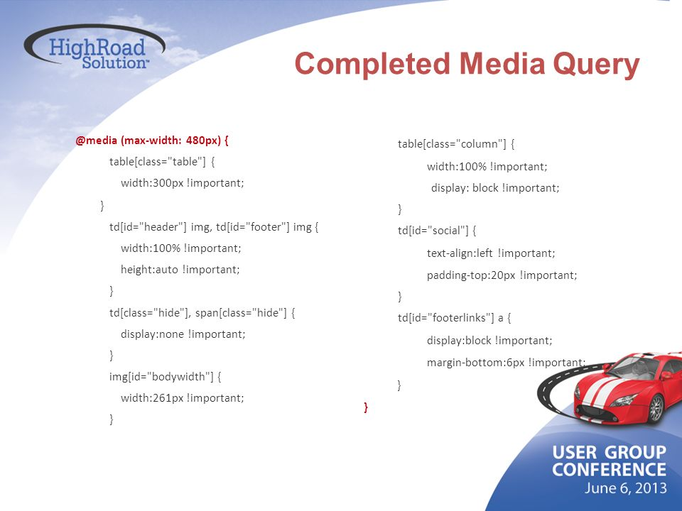 Completed Media Query @media (max-width: 480px) {