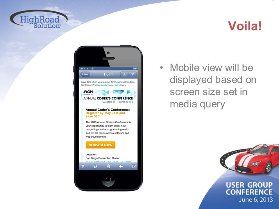 Voila! Mobile view will be displayed based on screen size set in media query
