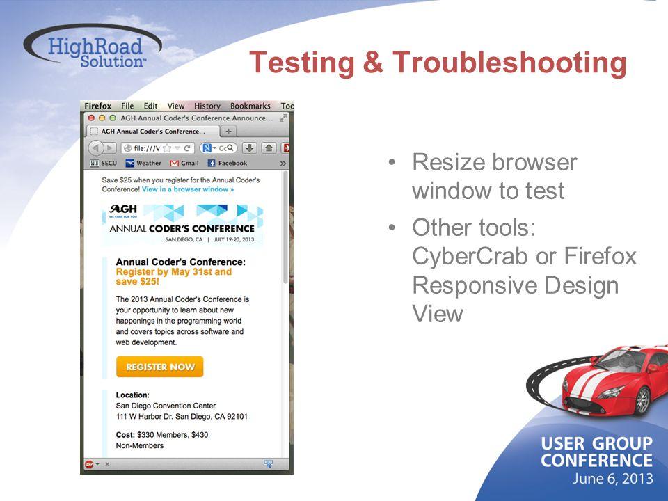 Testing & Troubleshooting