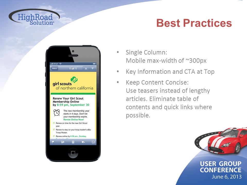 Best Practices Single Column: Mobile max-width of ~300px