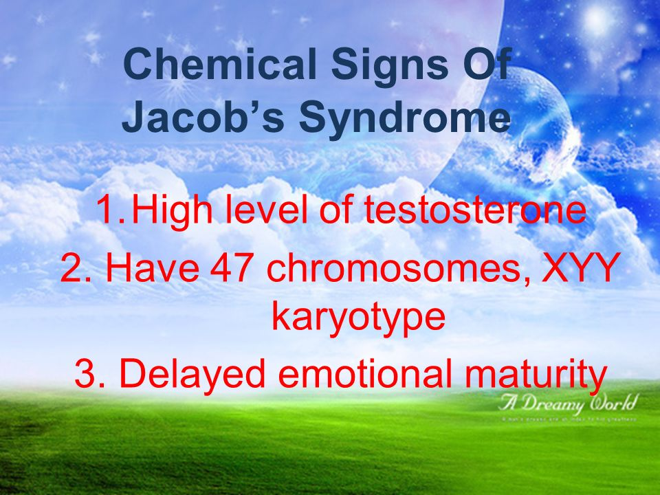 Chemical Signs Of Jacob's Syndrome