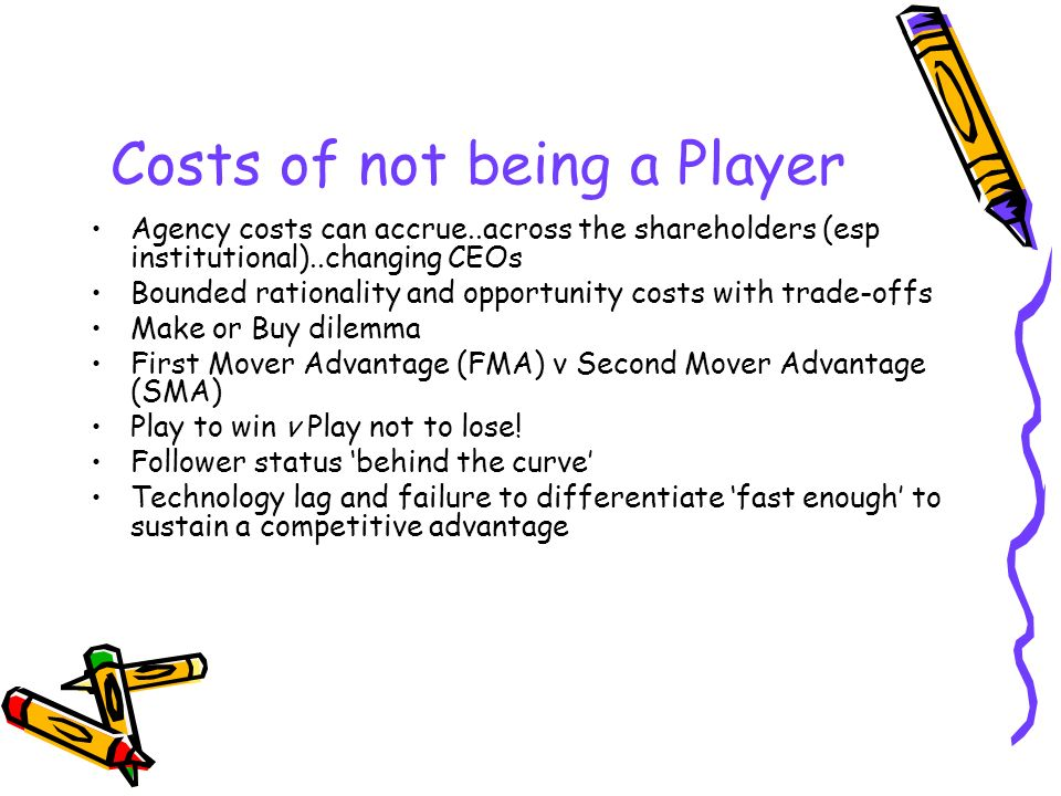 Costs of not being a Player