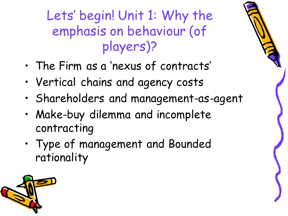 Lets' begin! Unit 1: Why the emphasis on behaviour (of players)
