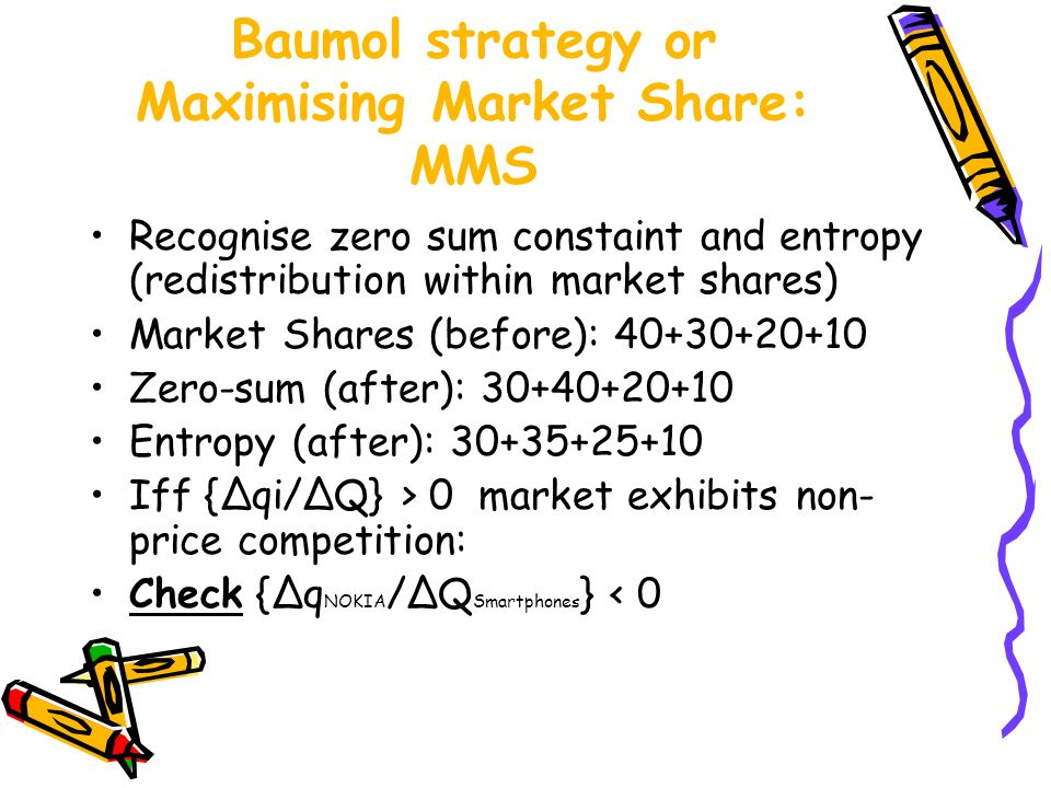 Baumol strategy or Maximising Market Share: MMS