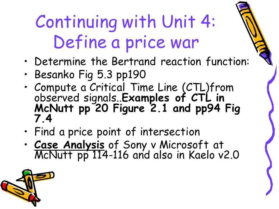 Continuing with Unit 4: Define a price war