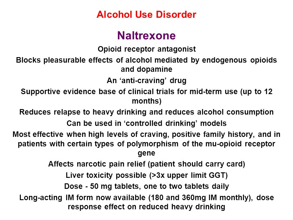 Naltrexone Alcohol Use Disorder Opioid receptor antagonist