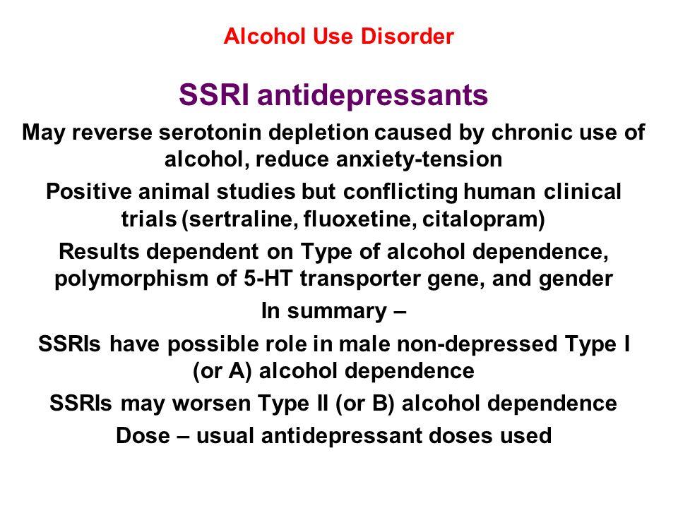 SSRI antidepressants Alcohol Use Disorder