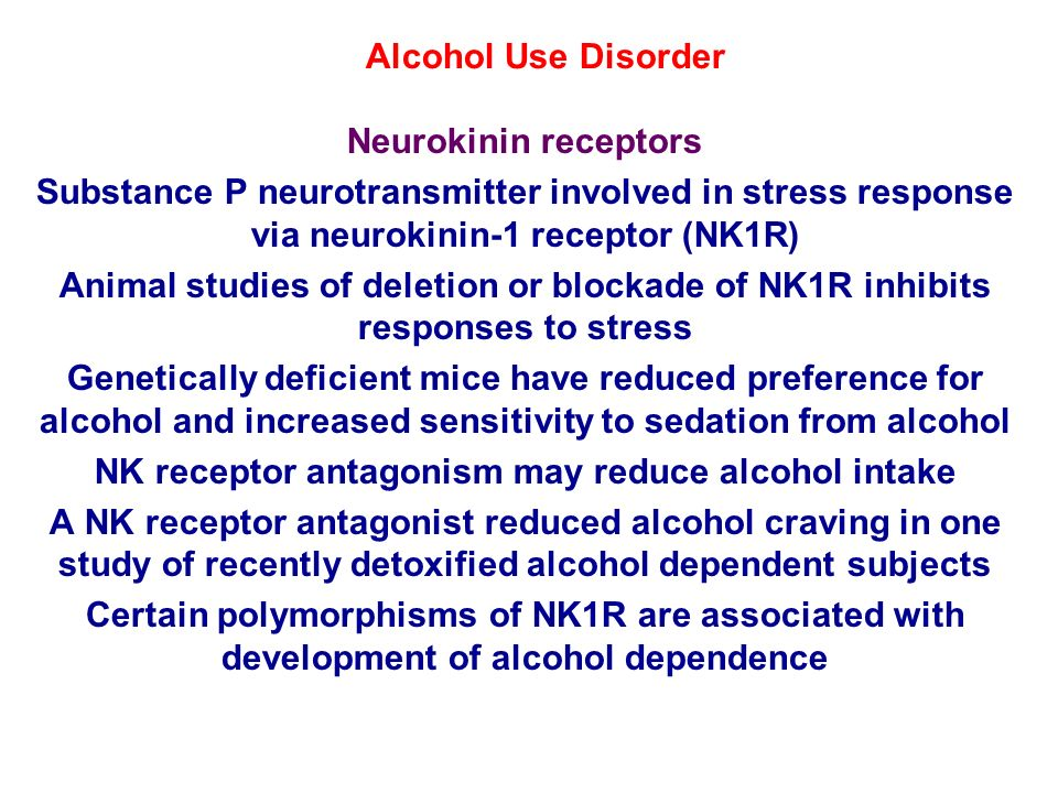 NK receptor antagonism may reduce alcohol intake