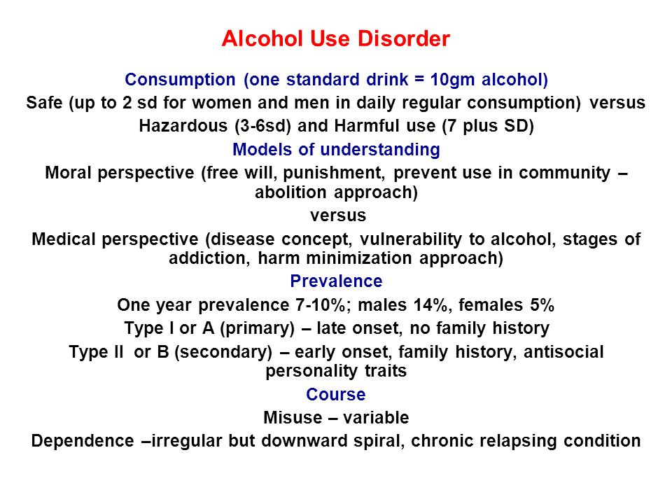Alcohol Use Disorder Consumption (one standard drink = 10gm alcohol)