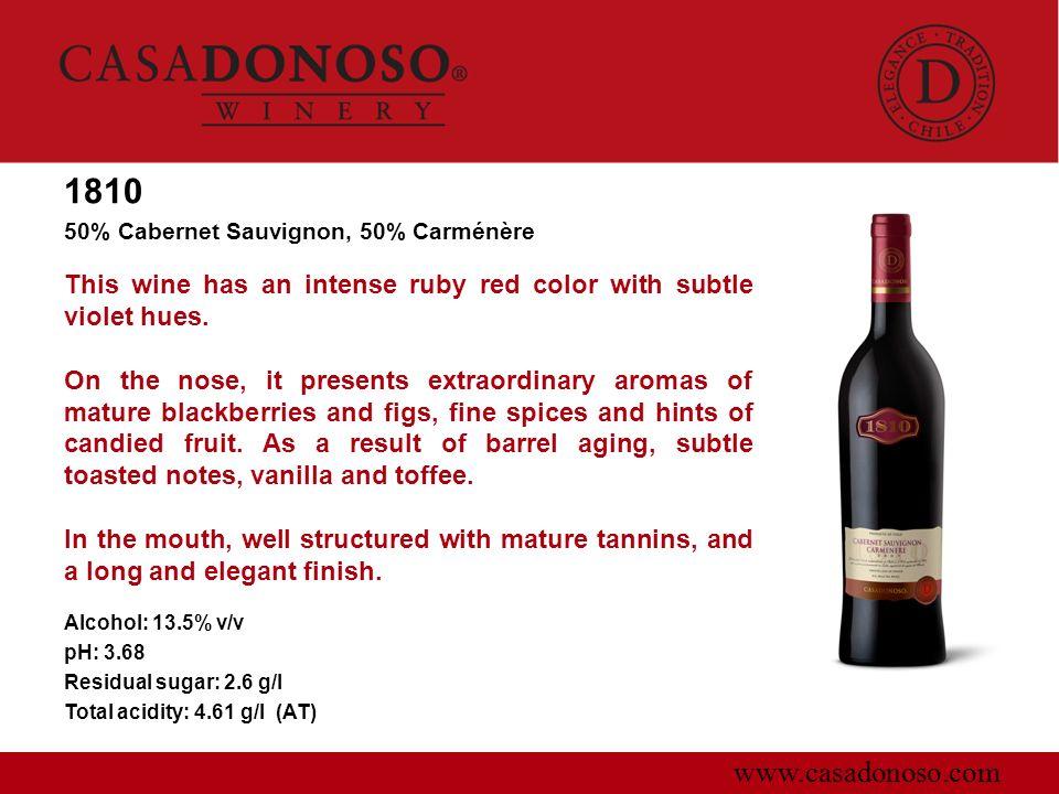 1810 50% Cabernet Sauvignon, 50% Carménère. This wine has an intense ruby red color with subtle violet hues.