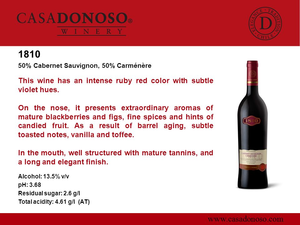 181050% Cabernet Sauvignon, 50% Carménère. This wine has an intense ruby red color with subtle violet hues.