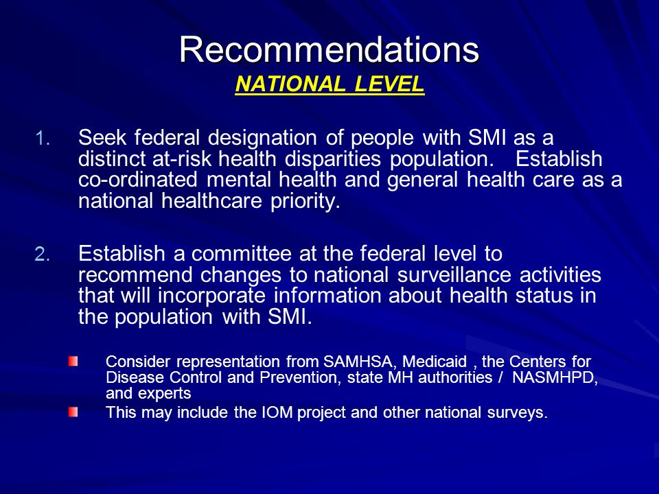 Recommendations NATIONAL LEVEL