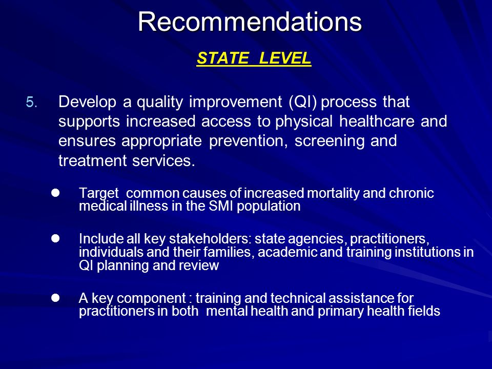 Recommendations STATE LEVEL