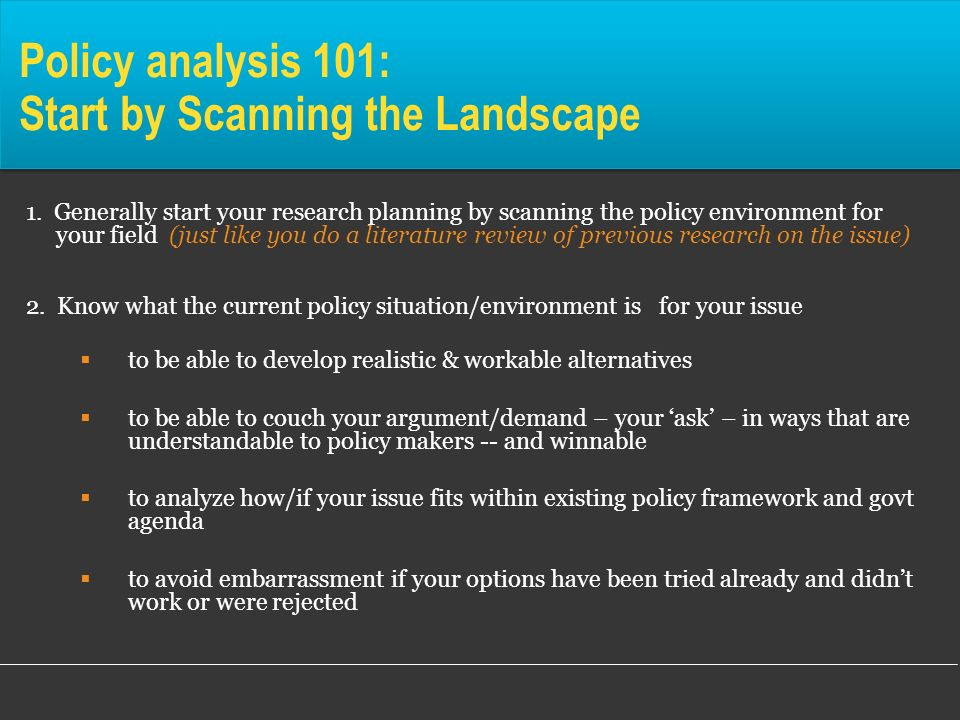Policy analysis 101: Start by Scanning the Landscape