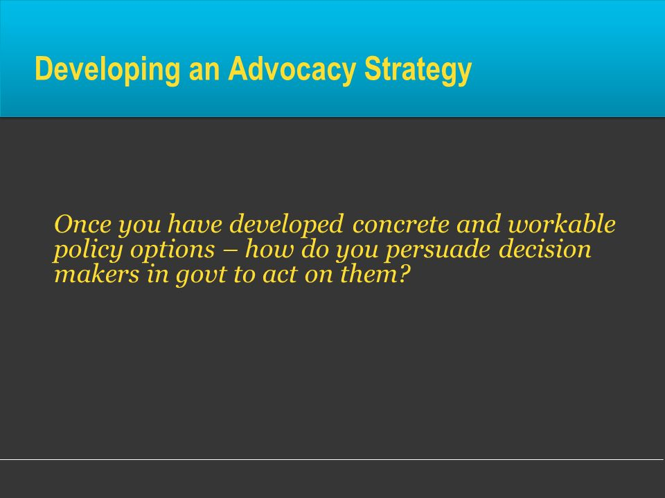 Developing an Advocacy Strategy