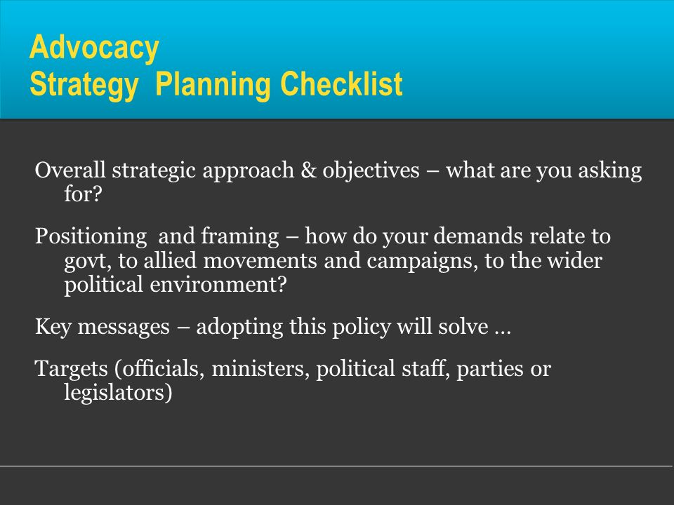 Advocacy Strategy Planning Checklist
