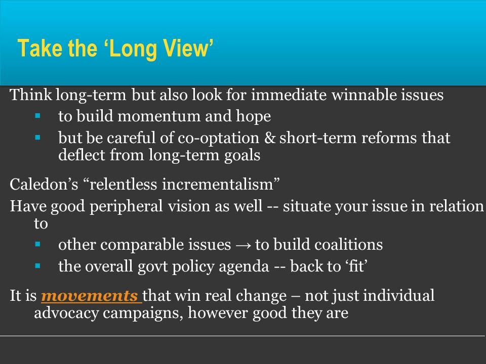 Take the 'Long View' Think long-term but also look for immediate winnable issues. to build momentum and hope.