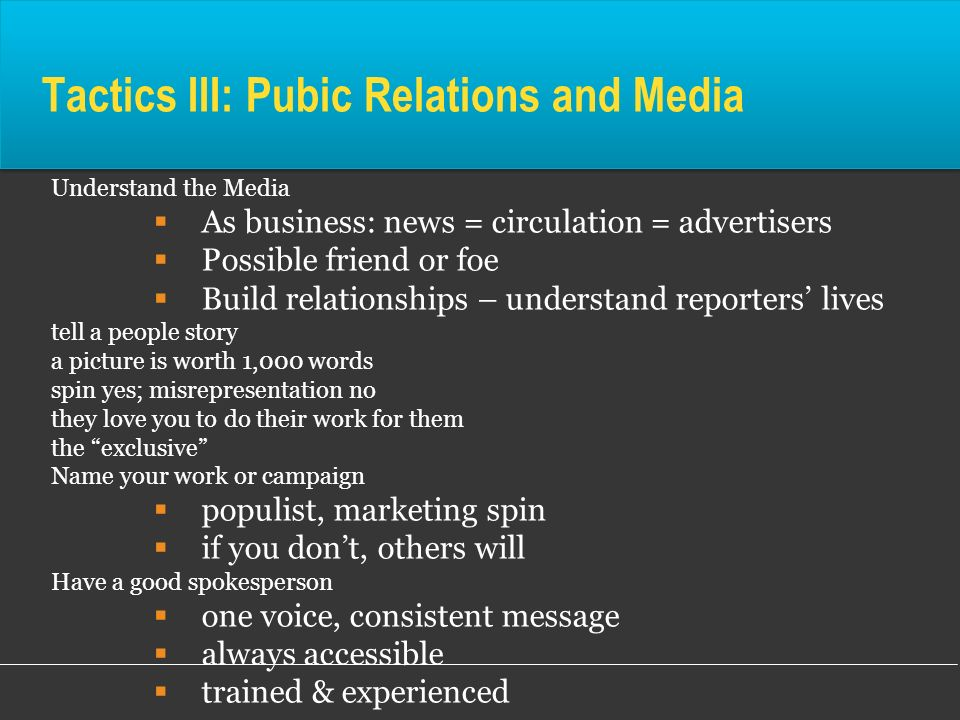 Tactics III: Pubic Relations and Media