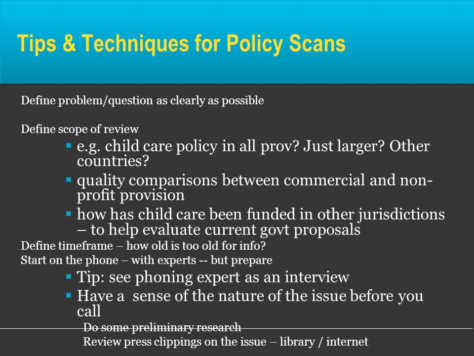 Tips & Techniques for Policy Scans