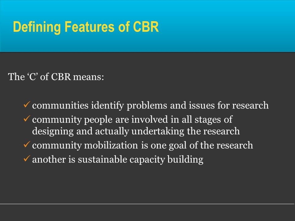 Defining Features of CBR