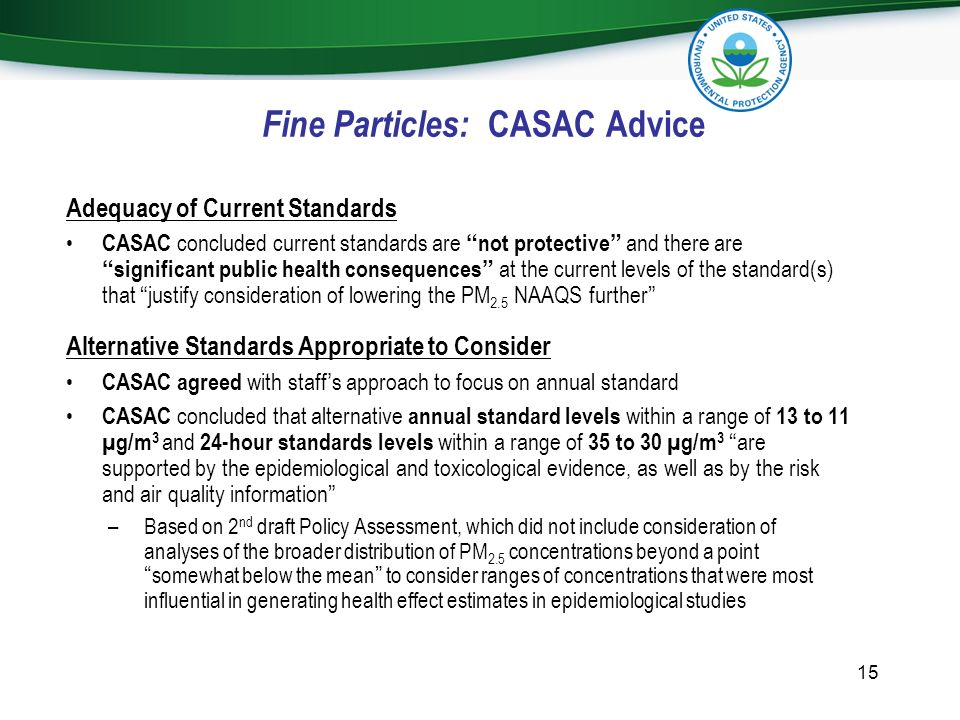 Fine Particles: CASAC Advice