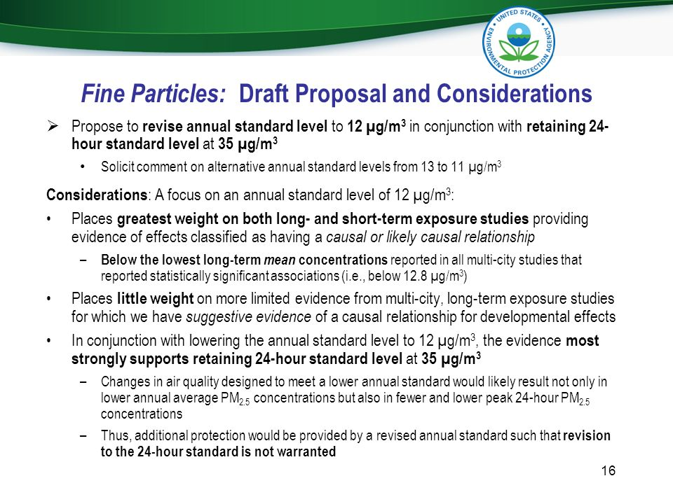 Fine Particles: Draft Proposal and Considerations