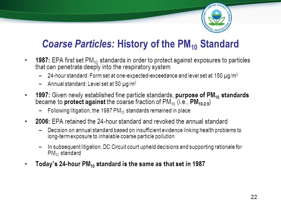 Coarse Particles: History of the PM10 Standard