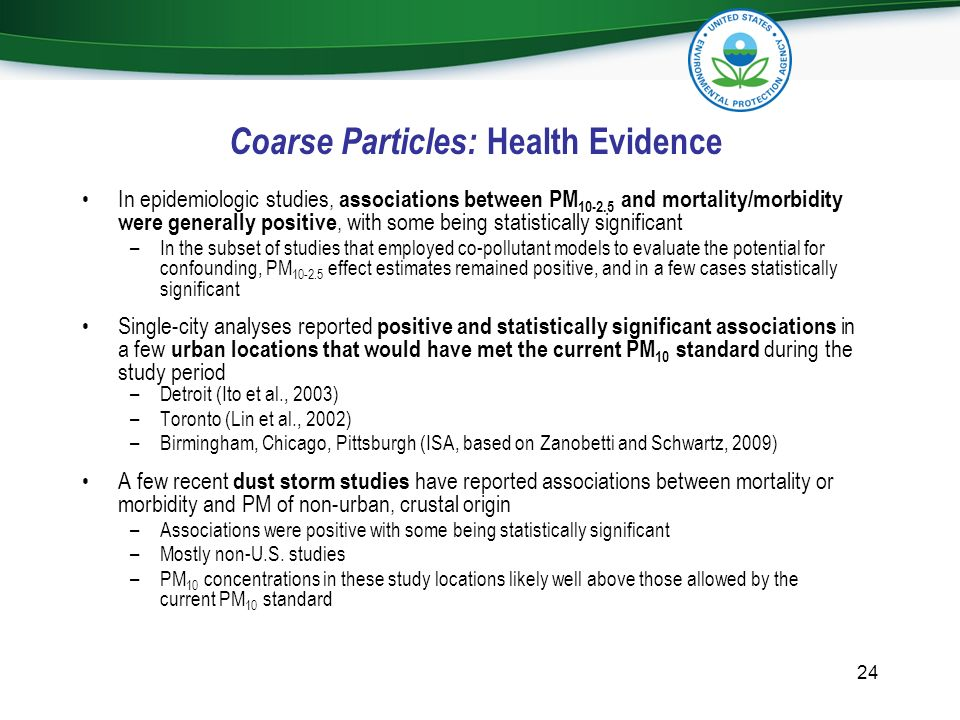 Coarse Particles: Health Evidence