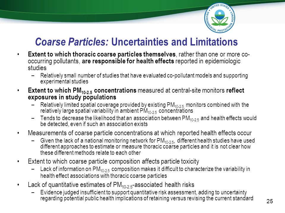 Coarse Particles: Uncertainties and Limitations