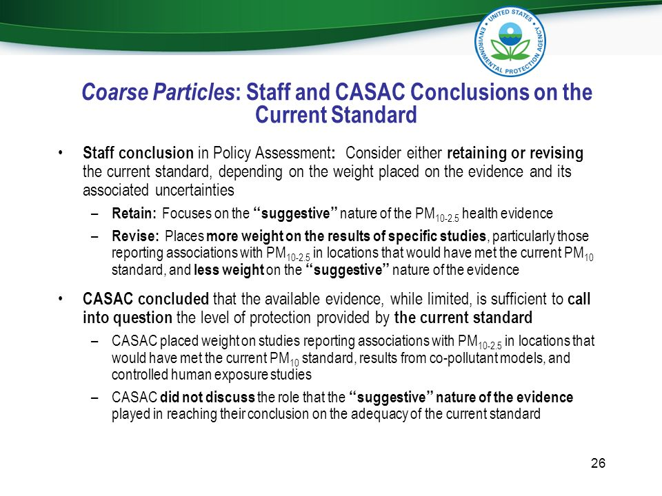 Coarse Particles: Staff and CASAC Conclusions on the Current Standard