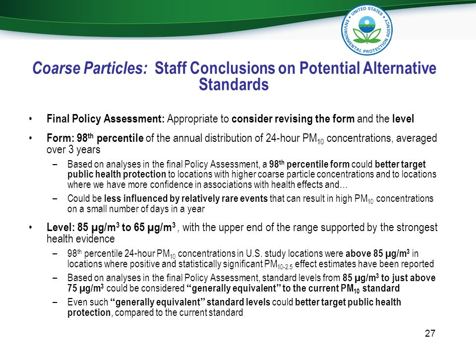 Coarse Particles: Staff Conclusions on Potential Alternative Standards