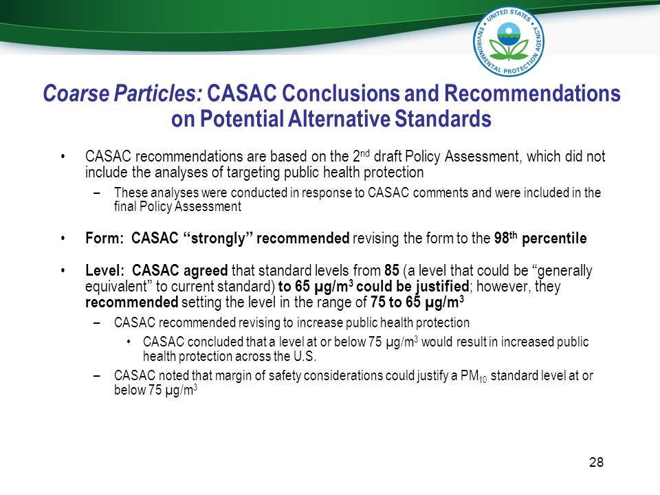 Coarse Particles: CASAC Conclusions and Recommendations on Potential Alternative Standards
