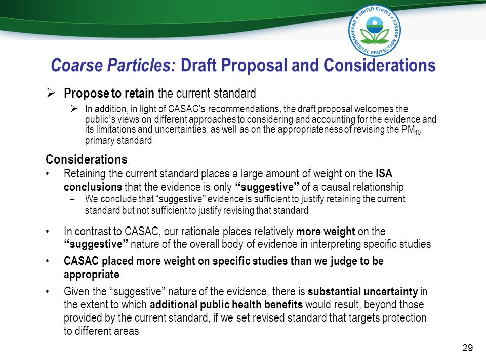 Coarse Particles: Draft Proposal and Considerations