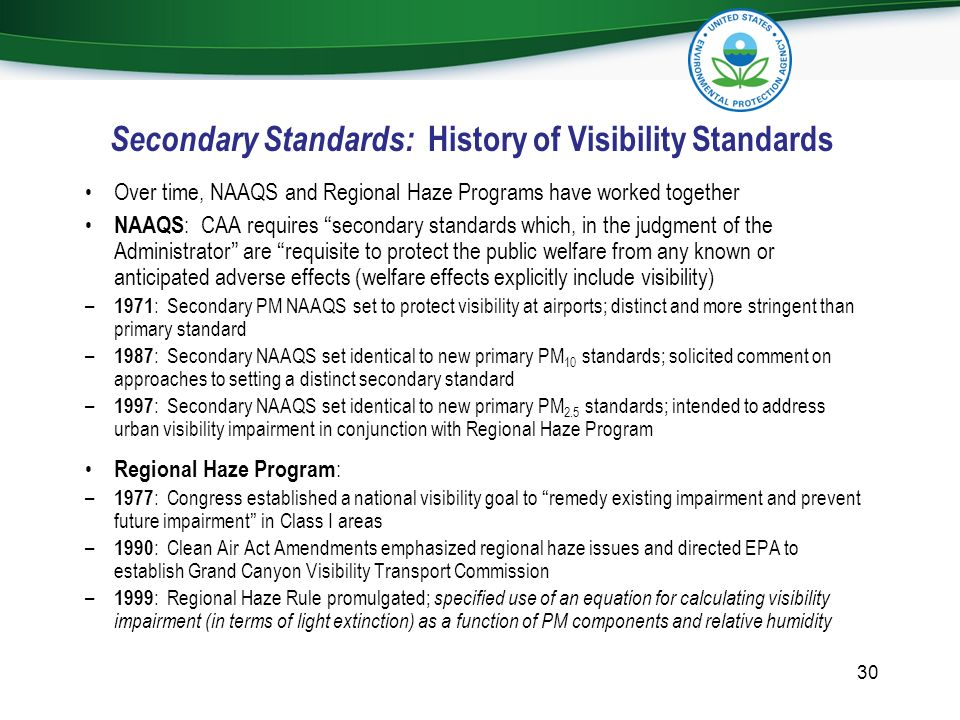Secondary Standards: History of Visibility Standards