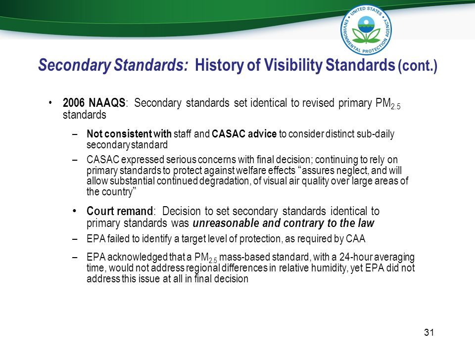 Secondary Standards: History of Visibility Standards (cont.)