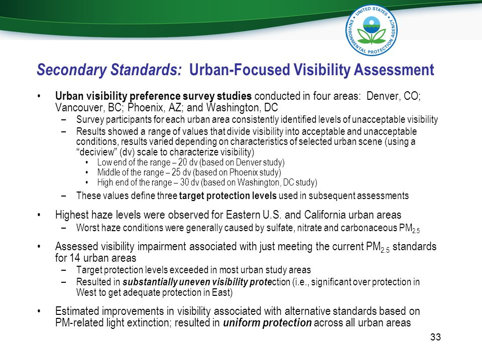 Secondary Standards: Urban-Focused Visibility Assessment