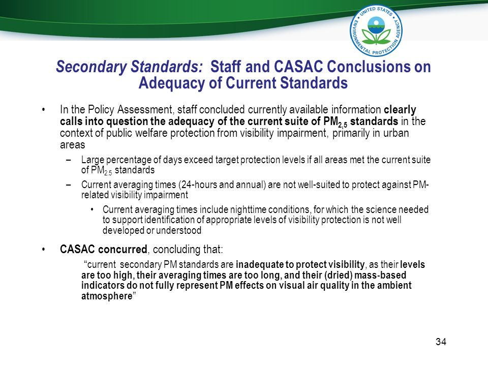 Secondary Standards: Staff and CASAC Conclusions on Adequacy of Current Standards