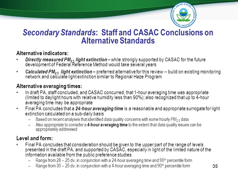 Secondary Standards: Staff and CASAC Conclusions on Alternative Standards