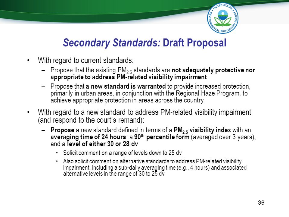 Secondary Standards: Draft Proposal